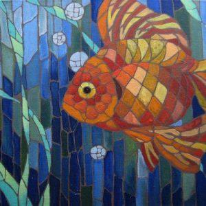 Gạch mosaic thủy tinh trộn màu 75