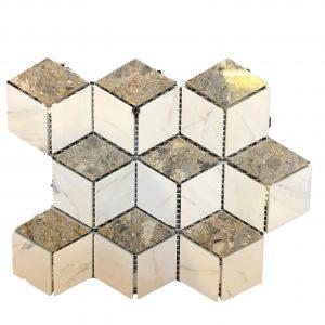 Mosaic đá tự nhiên lục giác – hình thoi 15