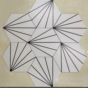 Gạch bông lục giác 17 – Rẻ quạt trắng