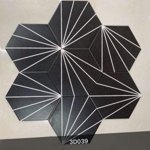 Gạch bông lục giác 18- Rẻ quạt đen