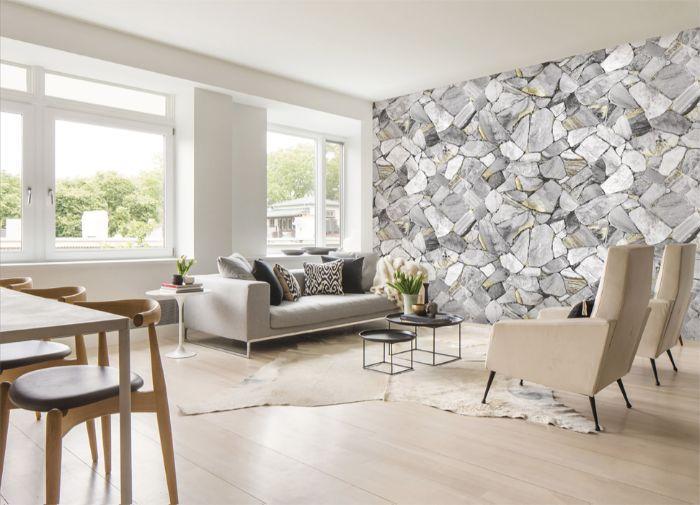 Đá ốp tường giúp không gian phòng khách thêm phần sang trọng