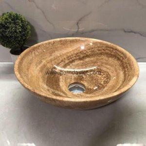 Lavabo đá tự nhiên 49 – Vàng Vân Gỗ Mỏng