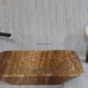 Lavabo đá tự nhiên 69 – Vàng Vân Gỗ Chữ Nhật  Vát Cạnh