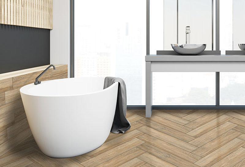 Gạch giả gỗ cho không gian phòng tắm
