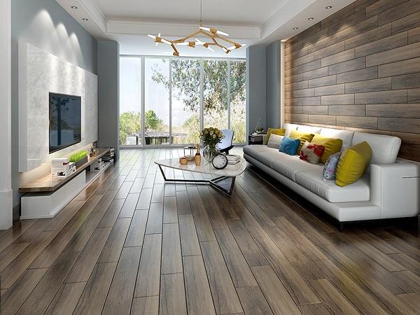 Gạch giả gỗ sử dụng cho phòng khách